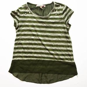 Speechless Top Girls Size Small Green Striped